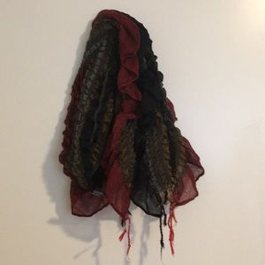 Fall Red Scarf wrap Fringe